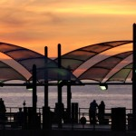 "the Redondo Beach pier ""sails"" at sunset"