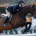 girl jumping on beautiful bay horse